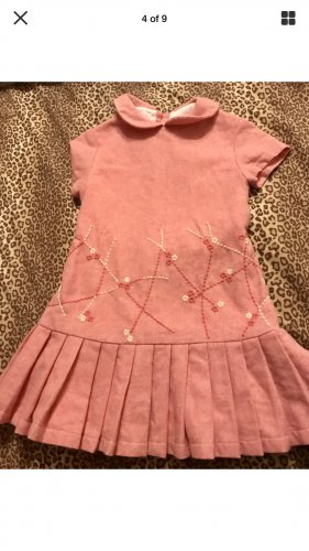 TODDLER GIRLS CARLOTTA PINK WOOL COUTURE FLORAL DRESS SZ 2T MADE IN ITALY