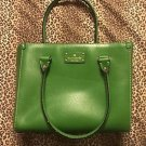 KATE SPADE WELLESLEY QUINN GREEN PEBBLED LEATHER HANDBAG TOTE PURSE  $385 NWOT