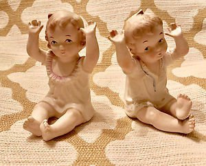 "2 PCS VINTAGE BISQUE PIANO BABIES Twins Boy & Girl SET Blonde Hair 5-3/4"" Tall"
