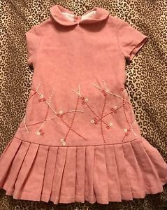 TODDLER GIRLS CARLOTTA COUTURE Pink PLEATED WOOL DRESS 2 2/T Made In Italy