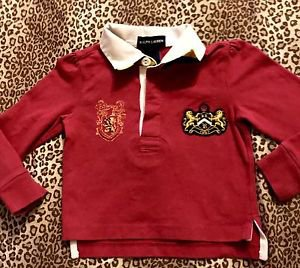 POLO RALPH LAUREN GIRLS 3/3T MAROON LONG SLEEVE SHIRT LIONS CROWN L@@K!!