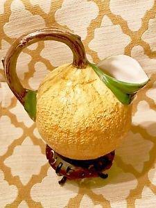 BASSANO ITALY Ceramic Fruit Water Pitcher Orange w/ Branch Juice Punch Majolica