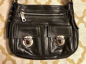 DESIGNER MARC JACOBS BLACK LEATHER CHROME HANDBAG PURSE ~L@@K!!