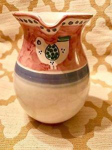 """VIETRI Solimene Italian Hand Painted Pitcher Water Jug~ White bird 8-1/2"""" Tall"""