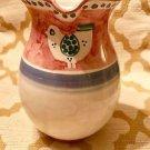 "Vietri Italian Hand Painted Porcelain Pitcher/ Water Jug~ White bird 8-1/2"" Tall"