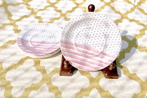 CHURCHILL Shades Pink And White Striped & Polka Dot Saucer ENGLAND