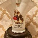 BEATRIX POTTER Peter Rabbit Benjamin Bunny~ Porcelain Basket w/ gold Easter baby