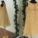 1960s Vintage Mod GoGo Swing Gold Lace Sequin Empire Waist Dress Size 13
