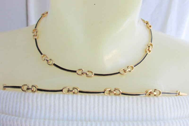 Vintage Sarah Coventry Elegant Choker Necklace Bracelet Gold Plate Black Enamel