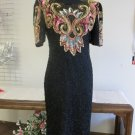 1980 Vintage MOONLITE 100% Silk Sequin Gold Beaded Black Dress Cocktail Sz Small
