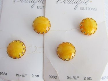"Mom's Estate 4 Vintage BOUTIQUE Yellow Glass 5/8"" Buttons Shank Sz 24 Orig Card"
