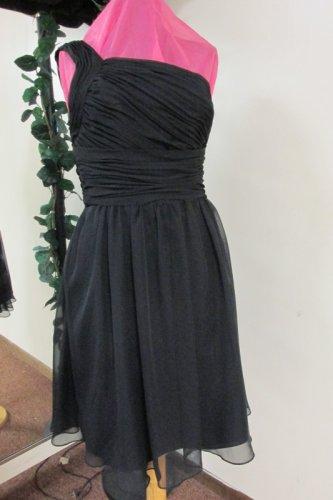 New Sz 10 Black Chiffon 1 Shoulder Prom Dress Gown Bridesmaid Formal SB Boutique