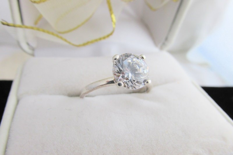 Vintage Sterling Silver 2ct Simulated Lab Diamond Ring Solitaire Engagement Sz 7