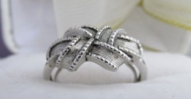 1970s Vintage AVON Lovers Knot Ribbon Ring Antiqued Silver Tone Sz Med 6 -7