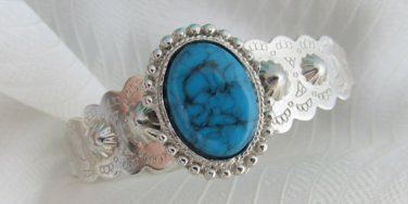 Vintage Light Faux Turquoise Cuff Bracelet Silver Plate Pressed Southwest Design
