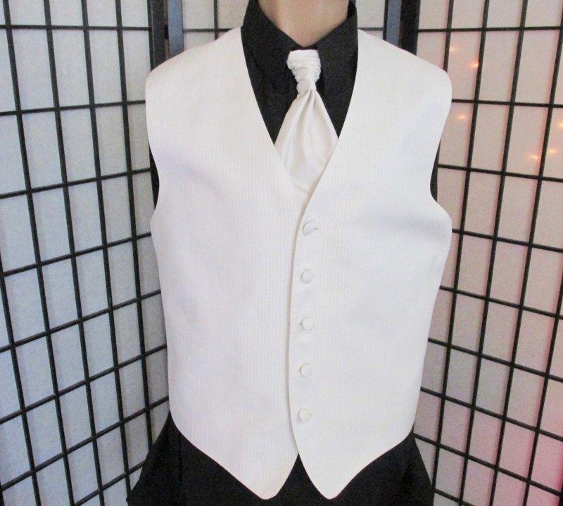 Med Ivory Metallic Fleck Prom Wedding Fullback Tuxedo Vest Solid Windsor Tie