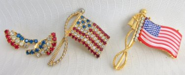Vintage 2 USA Flag Pins & Red White Blue Rhinestone Earrings Gold Plated Clips