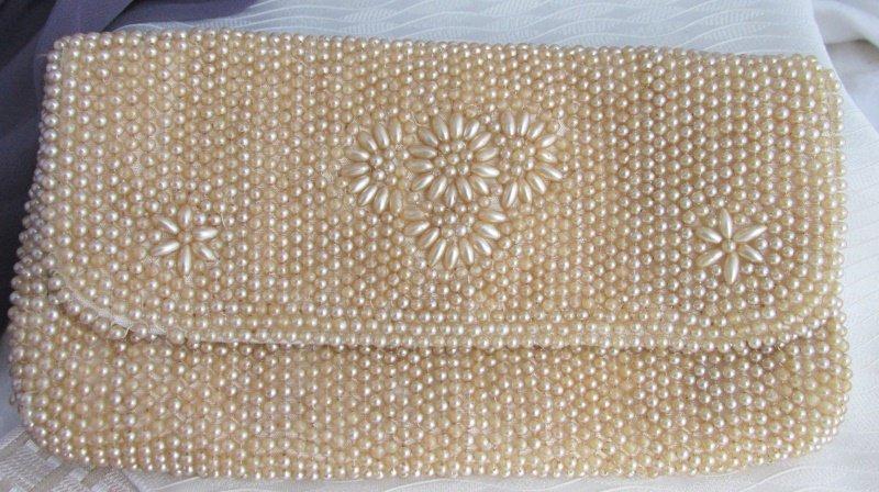 Vintage JAPAN Heavy Beaded Clutch Evening Bag Tan Glass Faux Pearls Flowers