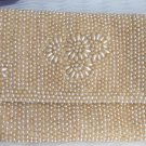 Vintage JAPAN Heavy Beaded Clutch Evening Bag Tan Glass Faux Pearls Flowers