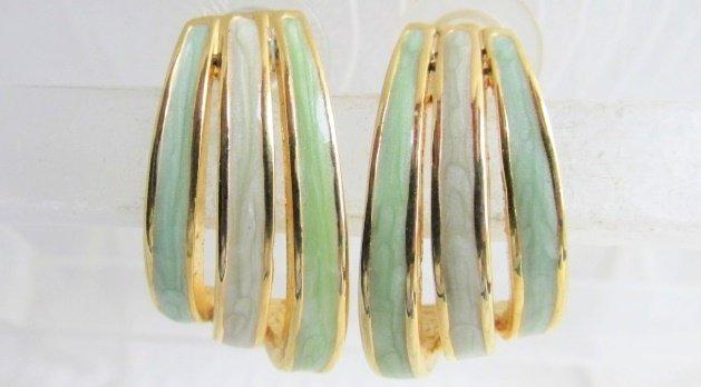 Vintage Pastel Green Blue Lavender Enamel 1/2 Hoop Earrings Gold Plated Pierced
