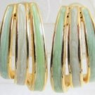 Vintage Pastel Green Blue Lavender Enamel 1/2 Hoop Earrings Gold Plated Pierced