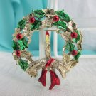 Vintage Gerry's Christmas Wreath w/ Candle Pin Gold Plate Red Green Enamel