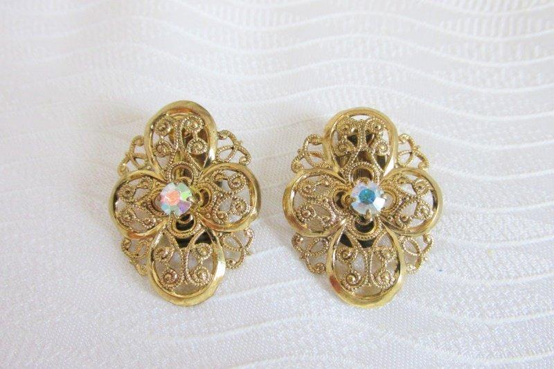 Vintage AB Rhinestone Gold Plate Filigree Earrings Clip On