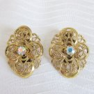 Vintage AB Rhinestone Gold Plate Filigree Earrings Clip On