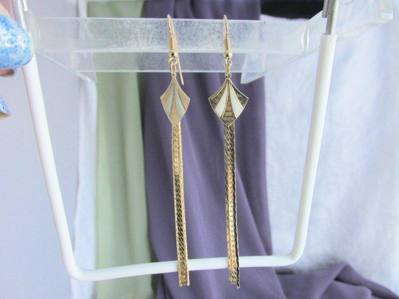 Vintage Cream White Enamel Kites Chain Tails Goldtone Earrings Pierced
