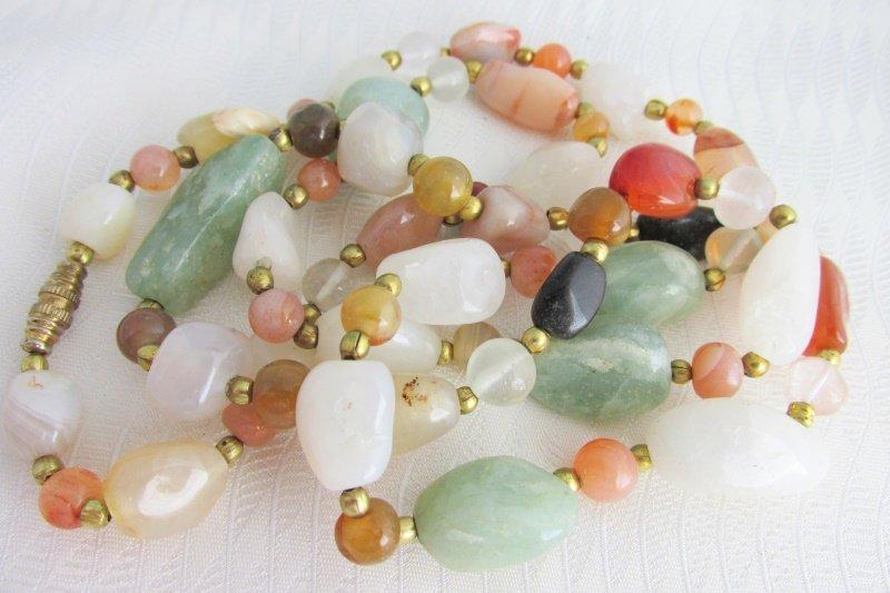 "Vtg Polished Nuggets Semi-Precious Gemstones 32"" Necklace Quartz Agate Carnelian"