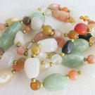 "Vtg Polished Nuggets Semi-Precious Gemstones 32"" Necklace Quartz Agate Carnelian"