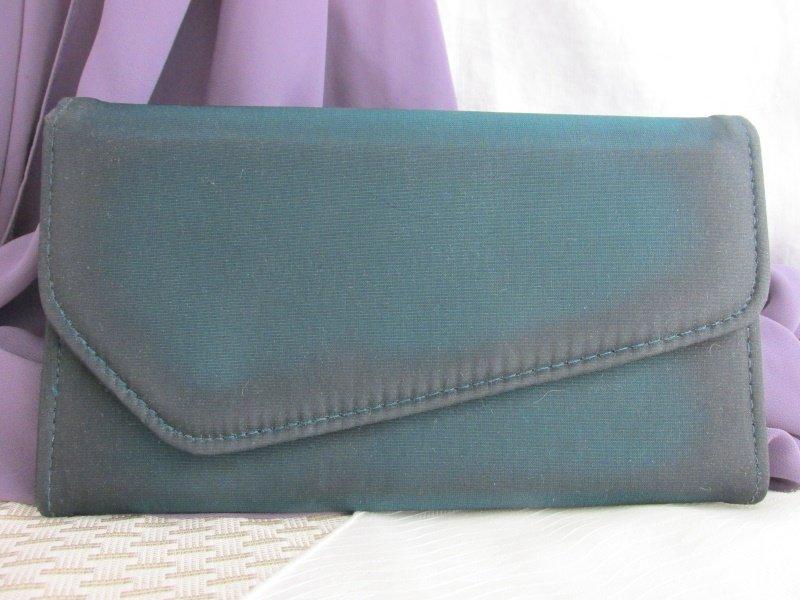 Vintage Teal Taffeta Envelope Clutch Purse Evening Bag w/ Shoulder Cord