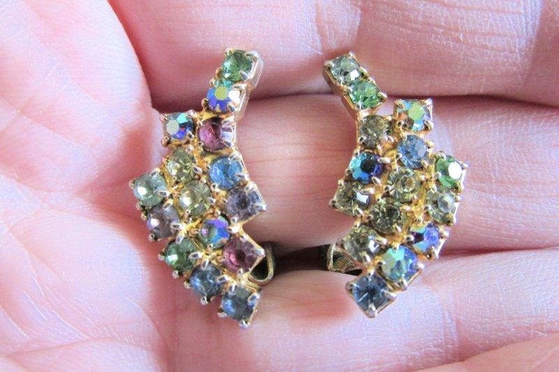 Vintage Colorful Rhinestone Spray Clip Earrings Goldtone 3 Rows