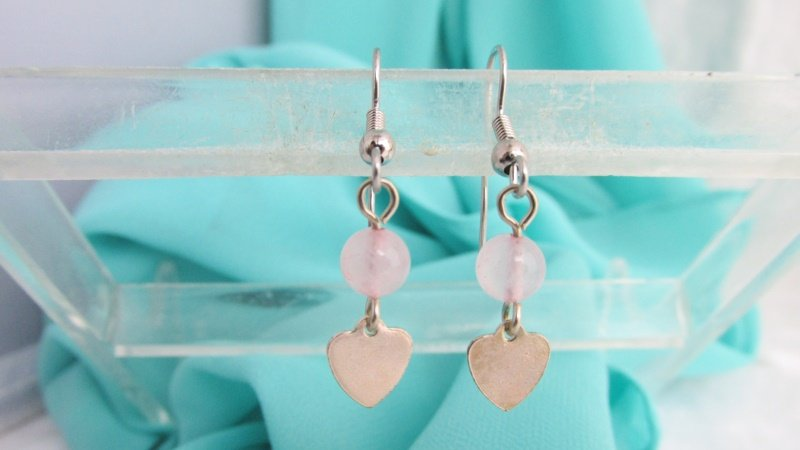Vintage AVON Rose Quartz Breeze Of Color Pierced Earrings Silver Plated