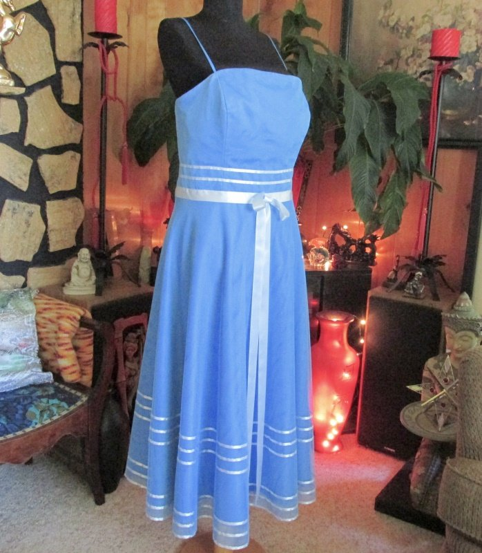 Sapphire Blue Lite Blue Tulle Bridesmaid Prom Dress Gown Drawstring Purse Sz 16