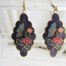 Vintage Purple Cloisonne' Enamel Pendant Earrings Gold Tone Butterfly Flowers