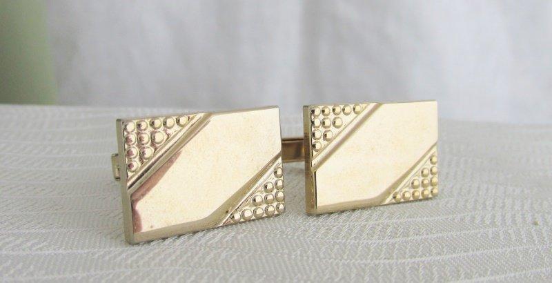 Vintage Mid Century Gold Plated Geometric Design Cufflinks Rectangle