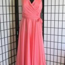 New Sz 12 Peach Chiffon Halter Dress Gown Prom Bridesmaid Formal Evening ALYCE
