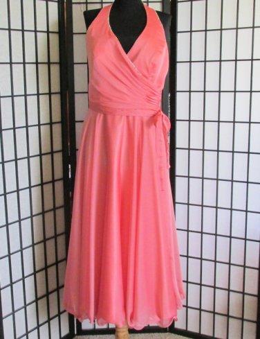 New Sz 12 Peach Chiffon Halter Dress Gown Prom Bridesmaid Formal Evening ALYCE