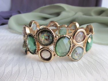 Greens & Champagne Checkerboard Stones Stretch Bracelet Gold Tone