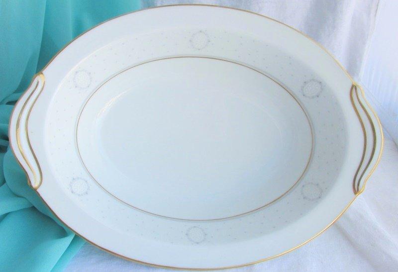 "Vintage Noritake Graymont 6217 Vegetable Serving Bowl Oval Dish 10"" White Gray"