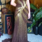 Gold Beaded Brown Silk Prom Formal Evening Pagent Gown Train Studio 17 Siz 4 NWT