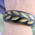 Vintage INDIA Dramatic Black & Gold Inlaid Wide Bangle Bracelet Brass Signed
