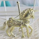 Vintage Detailed Rhinestones Carousel Unicorn Pin Gold Plate Sparkling Shiny