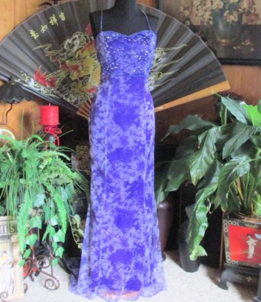 Purple Print Beaded Prom Gown Formal Evening Pagent Court Train Size 8 NWT