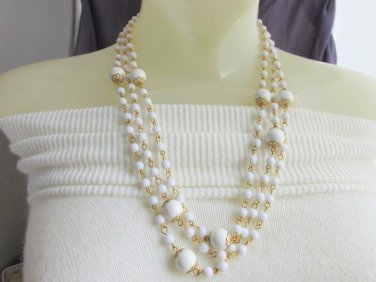 Vintage Pin Set White Bead 3 Strand Necklace Gold Tone Accent