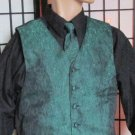 MED Men's Green w/ Blk Prom Wedding Fullback Tuxedo Vest Windsor Tie Bill Blass