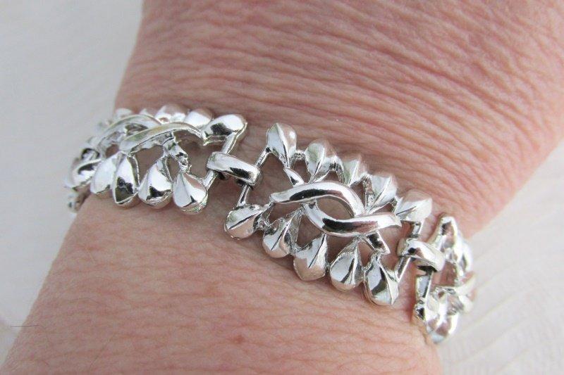 Vintage Silver Plated Twist Pattern Link Bracelet Mid Century Modern