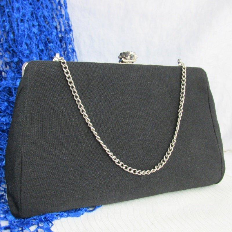 Vintage Black Fabric Clutch Purse Evening Silver Plate Chain Rhinestone Clasp
