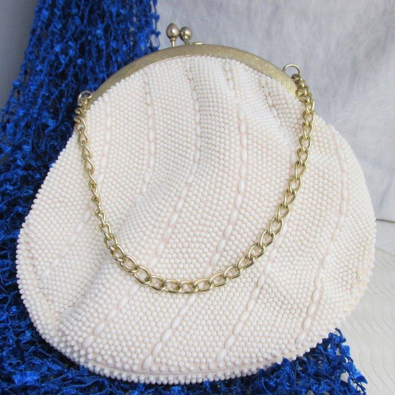 Vintage Cream Off White Petite Bead Purse Evening Kiss Lock Chain